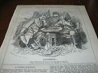1882 Original POLITICAL CARTOON - Diplomatic CHESS GAME Turkey Turkish SULTAN !!