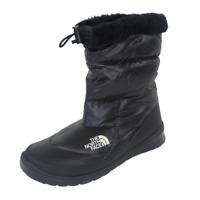 The North Face Womens Bootie Nuptse Shiny Faux Fur Black Winter Waterproof SZ 11