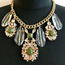ZARA BEAUTIFUL JADE GREEN CABOCHON CLEAR FACET LUCITE STATEMENT NECKLACE