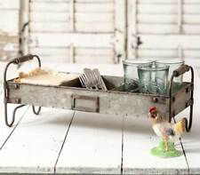 Metal Divided Tray with Stand - Farmhouse Decor - Organizer Feeder - Rustic