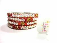 CHAMAK BY PRIYA KAKKAR RED & ORANGE SET OF 4 SMALL & LRG CRYSTAL BANGLE BRACELET