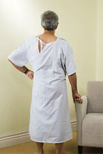 Patient Gown Short Sleeves Blue Floral Aged Care Robe Washable Comfort One Size