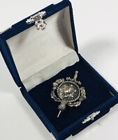 Vintage Brooch Kilt Pin Silver Tone Scottish Thistle Shield Sword Celtic Costume