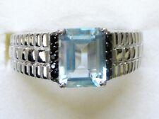 Men's Sky Blue Topaz & Black Spinel Ring / sz 13 / 925 Sterling Silver / 2.96ct