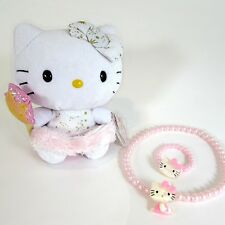 Ty Beanie Baby Hello Kitty Angel Plush + Beaded Necklace Bracelet Set Ages 3-5