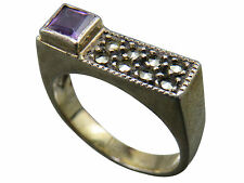 Judith Jack Band Ring Amethyst Purple Sterling Silver Size 8 Marcasite 294g