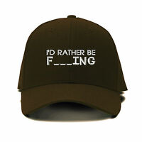I`D Rather Be Fishing Embroidery Embroidered Adjustable Hat Baseball Cap