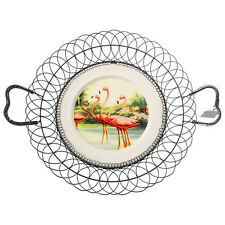 Temerity Jones Flamingo Wire Wall Ornament Ceramic Plate Fruit Vegetable Basket