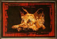 Berger chien mur photo animal portrait bois art placage de bois panneau...