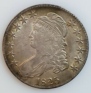 1825 Capped Bust Half Dollar 50c Coin in AU Condition