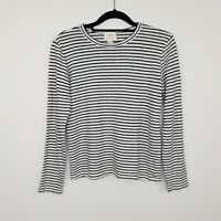 Elka Collective Women's Linen Long Sleeve Top Striped White Size 8