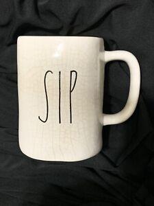 RARE Vintage RAE DUNN 'SIP' M Stamped Mug LARGE LETTER Magenta LL Crackled HTF!