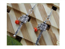 Pair Vintage Tibetan Red Coral OM Mani Spin Prayer Wheel Dangle Amulet Earrings