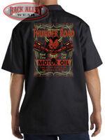 Thunder Road Motor Oil Red Devil Mechanic Work Shirt Biker M-3XL Highway to Hell