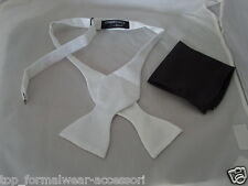 WHITE Self-tie Bow tie and Black Hankie Set <Step BY Step Instructions included>