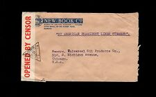 India WWII Censor Bombay 1942 New Book Co By Steamer Cover  8o