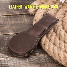 Watch Pouch Bag Genuine Leather Zipper Watches Case Storage Travel Handmade Box