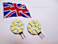 2 x G4 12SMD 5050 12 Volt DC 1.6 Watt White LED Disc Bulbs  - Genuine UK Stock