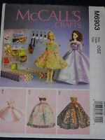 Barbie Doll Dress Accessory and Clothing Boxes Sewing Pattern McCalls 6903