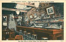 1942 Log Cabin Cafe, Interior View, Juarez, Mexico Postcard