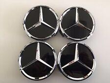 4x FOR Mercedes Benz Classic 75mm Wheel Centre Caps, ALLOY WHEELS Gloss Black