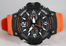 Casio MCW-100H-4A Mens Analog Watch Heavy Duty Orange 100M WR Chronograph New