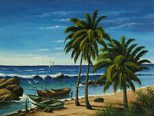"CUBAN ART #104**OSBALDO** ESPERANDO A LA CALMA 18X24"" SIGNED ON CANVAS"