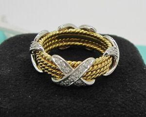 Tiffany & Co. Jean Schlumberger 18K Gold Platinum Diamond 4 Row X Size 7.5 Ring