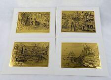 Vintage 1970's Lionel Barrymore Gold Foil Etch Print Set 247-112 Four Print Set