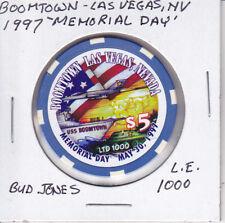 $5 CASINO CHIP BOOMTOWN LAS VEGAS, NV 1997 MEMORIAL DAY L.E.1000 BUD JONES MOLD