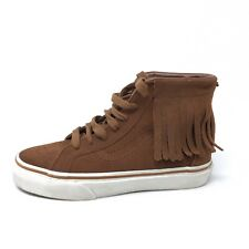 Vans Moccasin Fringe SK8 Hi Top Sneakers Brown Suede Kids Boys Girls Size 2