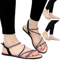 Ladies Diamante Shoes Party Strap Open Toe Beach Flat Womens Summer Sandals Size
