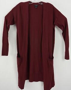 NWOT Halogen Women's Medium Burgundy Front Pocket Open Duster Cardigan Sweater