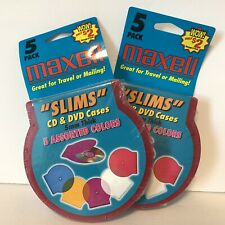 Maxell Slims CD DVD Cases Assorted Colors New 2 Packages