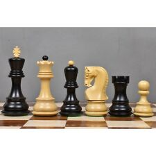 "3.9"" Russian Zagreb 59' Series Chess Pieces only set - Weighted Ebonised wood"