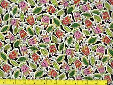 Bright Red & Pink Folk Art Tulips Floral Flowers Quilting Fabric by Yard  #588