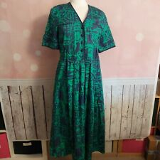 VINTAGE MARION DONALDSON 'TOMMI' DRESS - GREEN/NAVY PRINT -UK 12 - NEW WITH TAGS