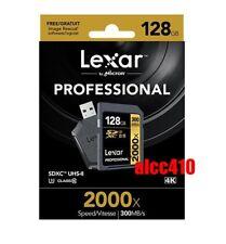 Lexar Professional 128GB SD SDXC 2000x Memory Card UHS-II 300MB/s U3 4K w/Reader