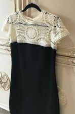 Valentino Dress Black Lana Wool with Creme Crochet Gorgeous Sz M Mint