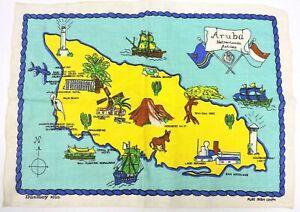 Aruba Vintage Map Irish Linen Netherlands Antilles Dunmoy New Amsterdam Store