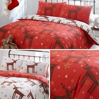 Red Duvet Covers Rudolph Christmas Reindeer Reversible Quilt Cover Bedding Sets