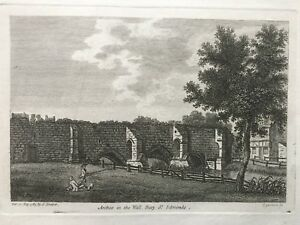 1785 Antique Print; Bury St Edmunds, Arches in the wall, Suffolk