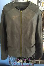 Guarapo Black Shiny 100% Leather Jacket Size M Made In Italy Retail €269