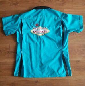 ROCKABILLY BOWLING blue Shirt size Large - Las Vegas The Attic REAL DEAL vintage