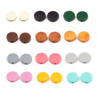 50 Random Natural Pearl Wood Beads Flat Round Colourful Coin Wooden Spacers 15mm