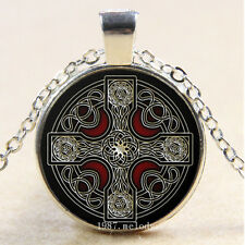 New Cabochon Glass Silver/Bronze/Black Pendant Necklace(new Celtic Cross