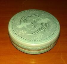"""Korean Green Crackle Celadon Lidded Incense Ink Paste Jar 2 Flying Cranes 2.75"""""""