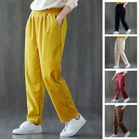 2019 Womens Casual Long Pants Elastic Waist Loose Jogging Trousers Sweatpants