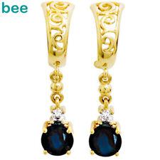 Sapphire Diamond 9k Solid Yellow Gold Drop Earrings 54984/slg