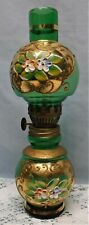 Vtg Green Glass w/ Hand Painted Gold & White Flowers Miniature Oil Lamp